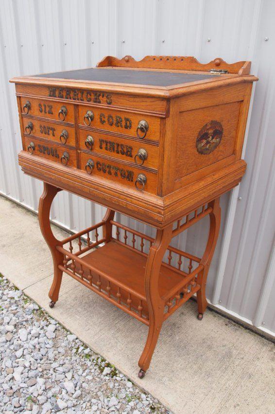 Oak Merrick's 6 drawer spool cabinet desk with oak sta : Lot 347 ...