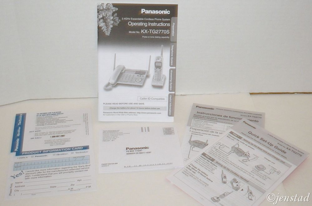 "PANASONIC OPERATING ""INSTRUCTION MANUAL"" FOR 2.4 GHZ CORDLESS PHONE KX-TG2770S #Panasonic"