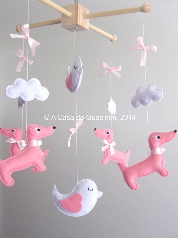 Baby Mobile Dachshunds and Birds by acasadoguaxinim on Etsy, €46.00