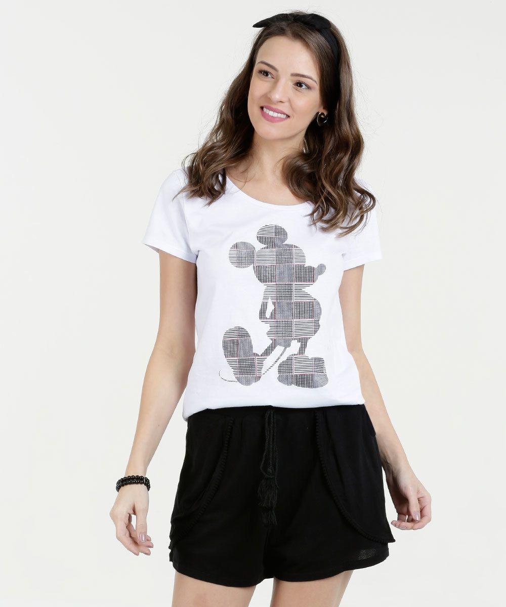 0819f342f44193 Blusa Feminina Estampa Mickey Manga Curta Disney em 2019 | Achados ...