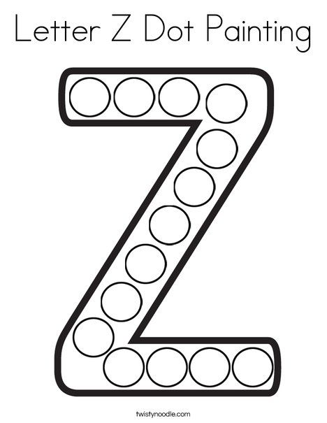 Letter Z Dot Painting Coloring Page - Twisty Noodle | Dot ...