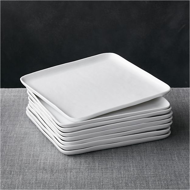 Crate \u0026 Barrel Set of 8 Mercer Square Dinner Plates & Crate \u0026 Barrel Set of 8 Mercer Square Dinner Plates | Crates ...