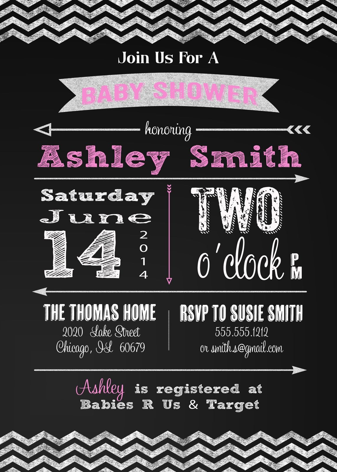 Baby shower invitation and personalized sign chalkboard modern baby shower invitation and personalized sign chalkboard modern typography pink girl filmwisefo Gallery