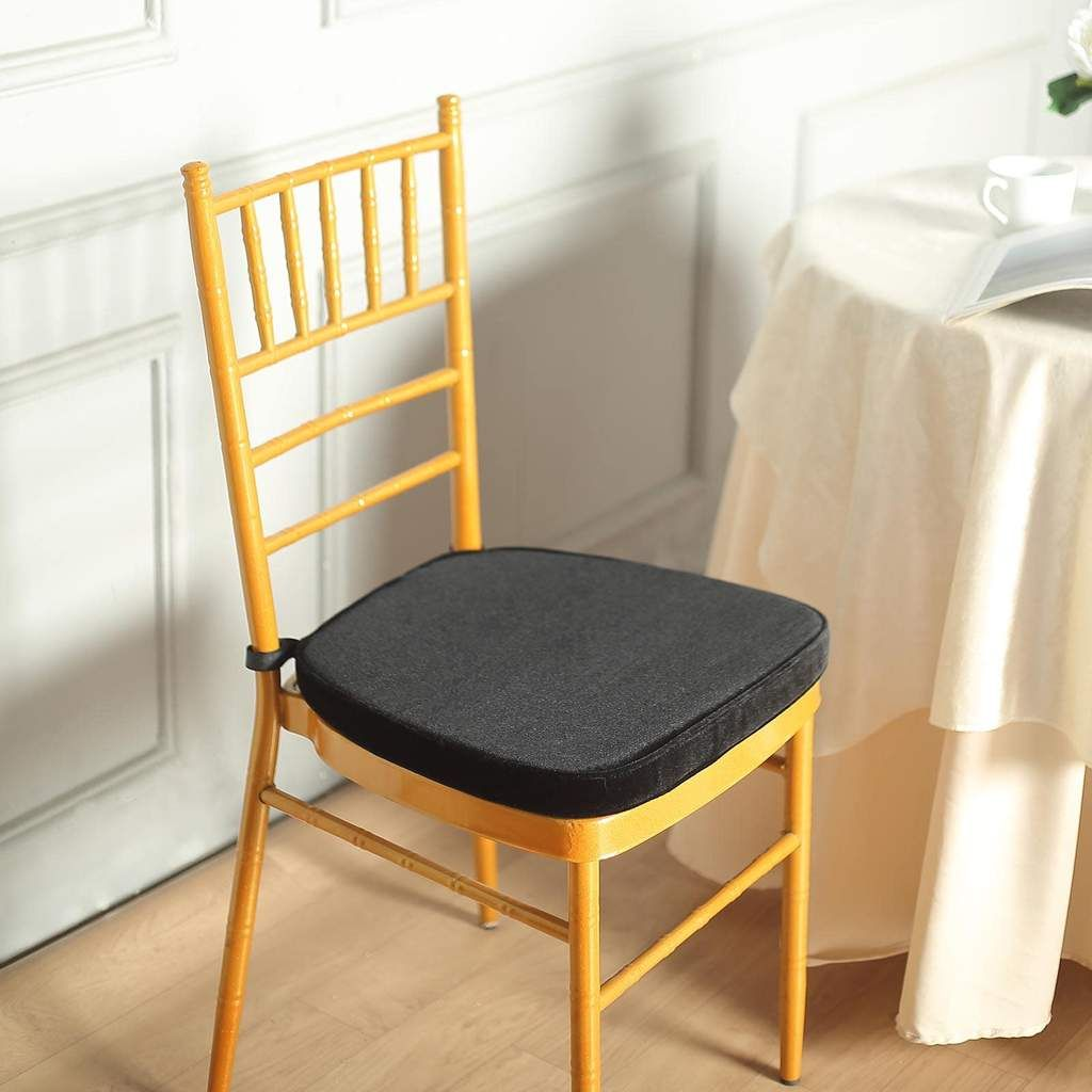 2 Thick Black Chair Pad Velcro Strap Chiavari Chair Cushion With Removable Velvet Cover In 2020 Chair Cushions Slipcovers For Chairs Memory Foam Seat Cushion