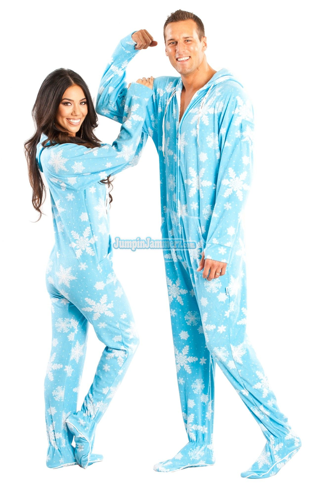 Blue Frosty Flakes Hooded Adult Pajamas. These delightful one piece pajamas feature a hoodie, thumb holes and front pockets. This design is perfect for any weather. You'll bring the snowflakes!!   $44.99
