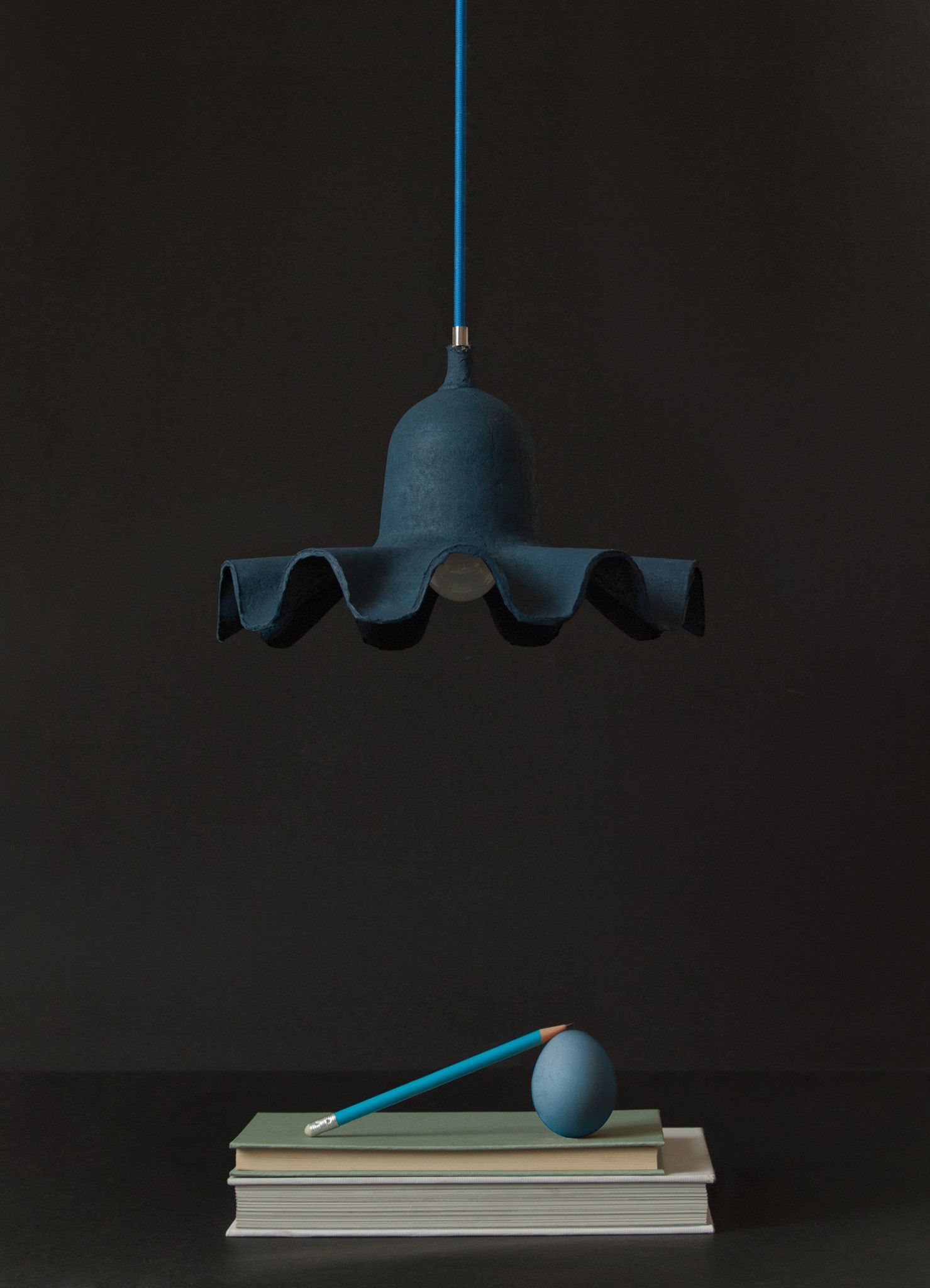 egg of columbus suspended carton lamp in light blue design by