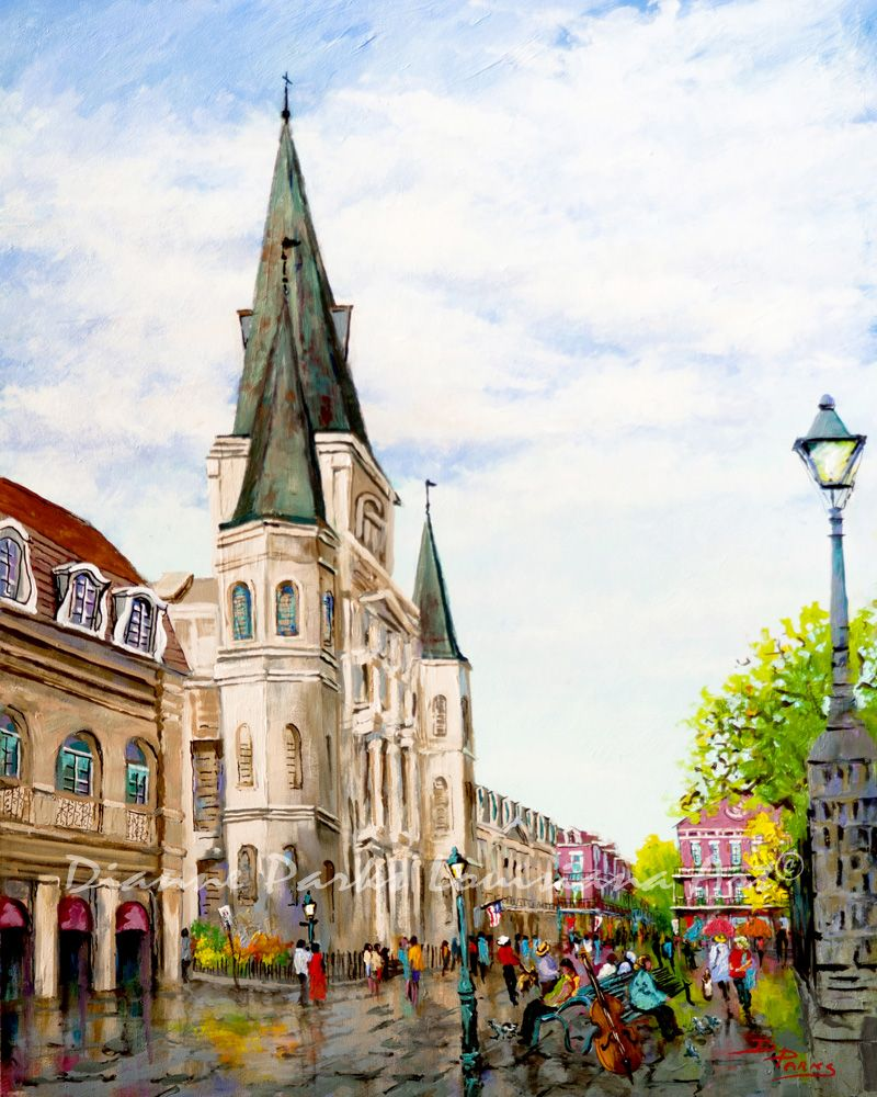 """Cathedral Plaza"" - painting by Dianne Parks Few cities in the world are so identified by a building as is New Orleans. The city is instantly recognized by our cathedral and its position overlooking Jackson Square. The Cathedral-Basilica of St. Louis King of France is the oldest Catholic cathedral in continual use in the United States and the…"