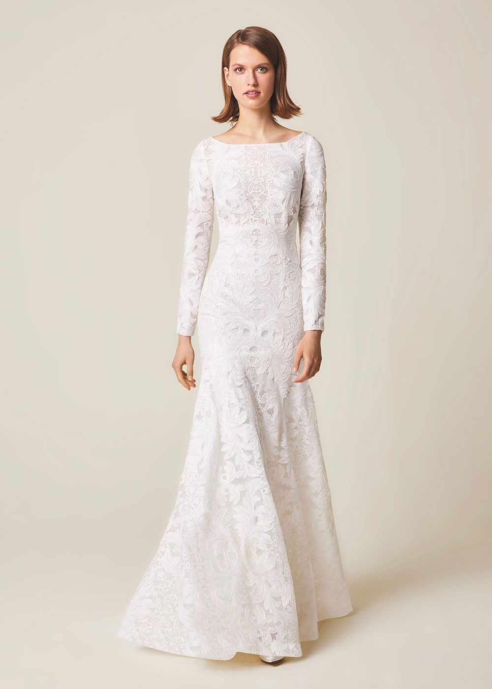 Silhouette wedding dresses simple bridal   unique lace full length long sleeve wedding dress Jesus Peiro