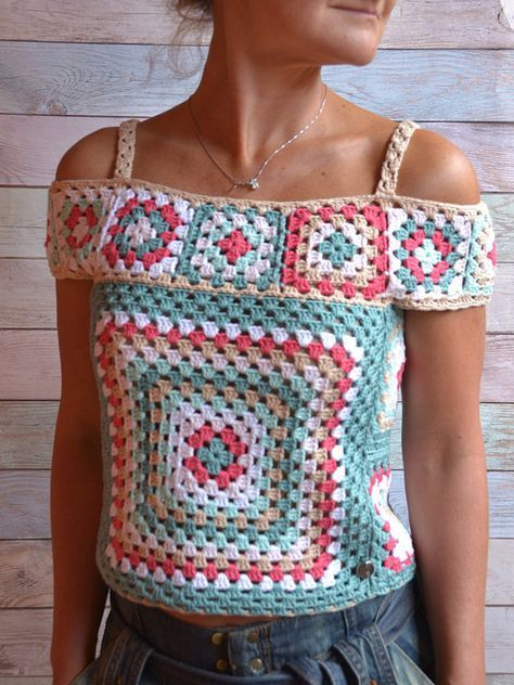 CROCHET Crop Blouse Multicolor off the shoulder Top Granny square Crochet Boho Top woman