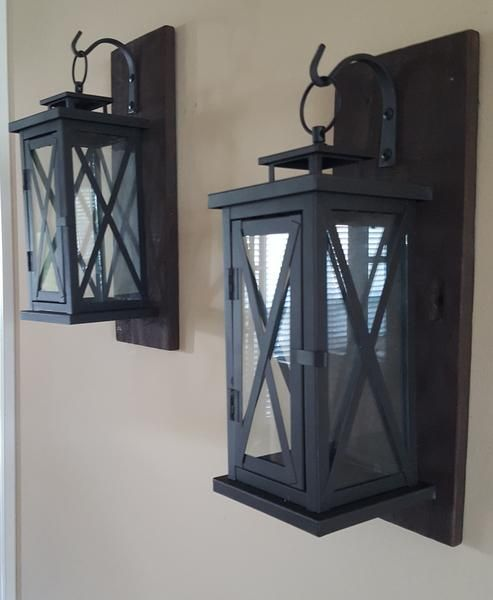 Set Of Two 16 Rustic Wall Mounted Lantern Sconces Wall Mount Lantern Rustic Walls Wooden Sconces