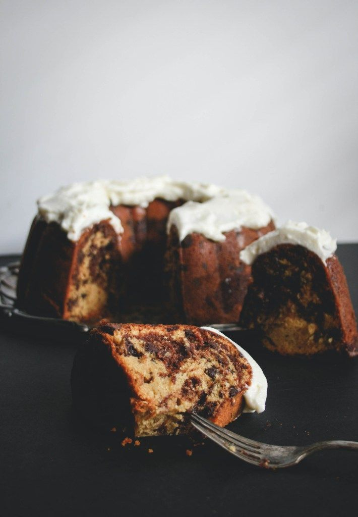 Nutella Swirl Bundt Cake with Fluffy Cream Cheese Frosting