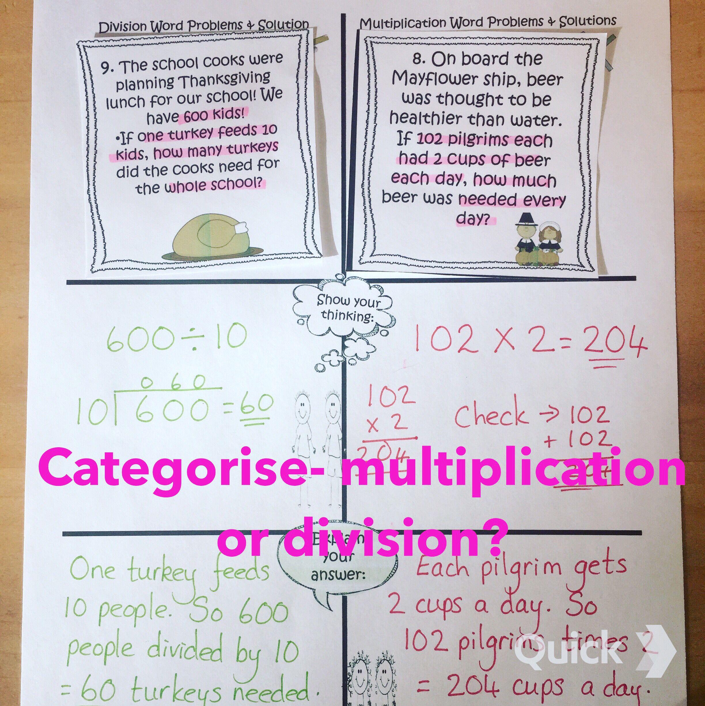 Sort N Solve Thanksgiving Multiplication Amp Division
