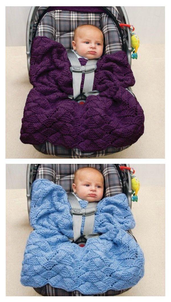 Easy Car Seat Blanket Free Knitting Pattern | Knit baby ...