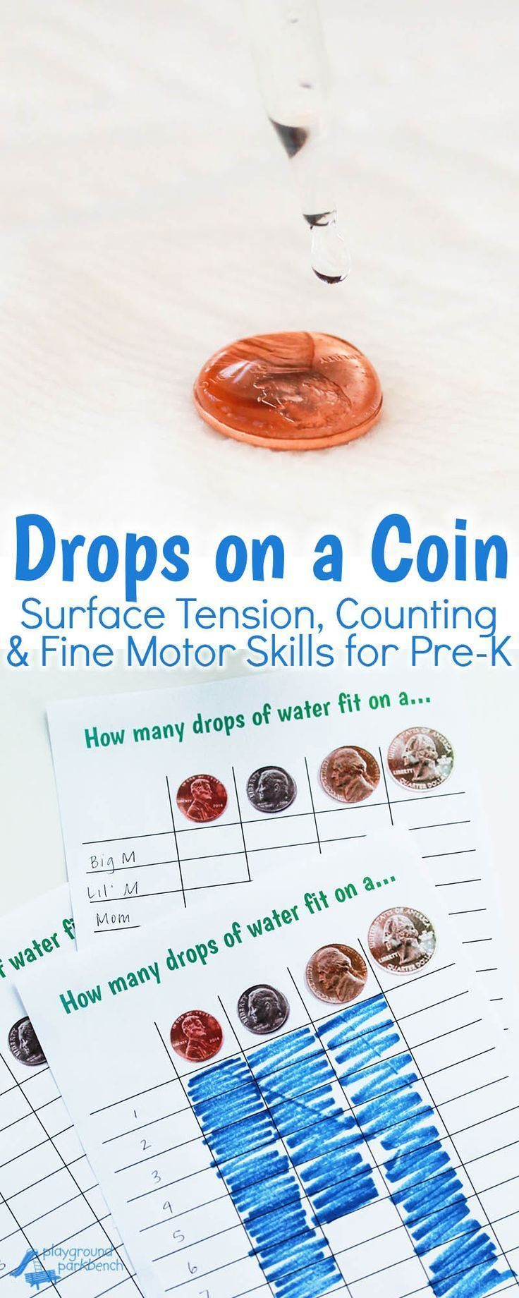 Quick and easy simple preschool STEM activities explores water, surface tension and coins, while challenging fine motor skills with an eye dropper. Free printable chart to record results as a class, trials by individual students or record results in a bar