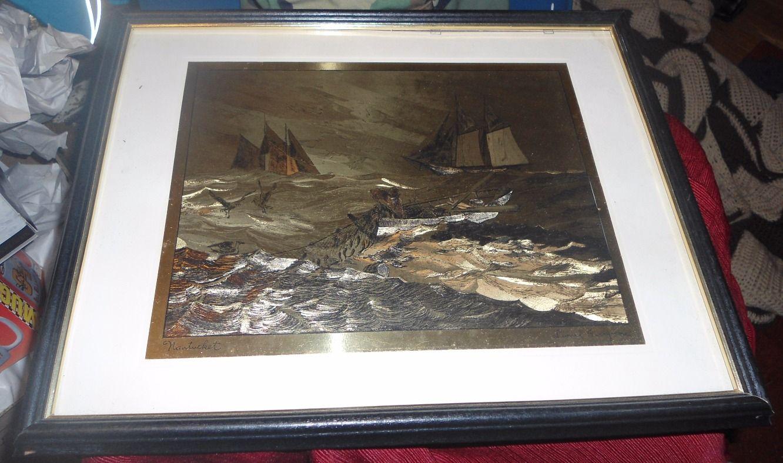 Lionel barrymore nantucket art 11 x 9 gold foil a6