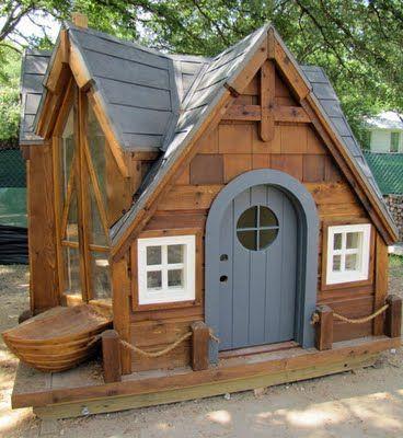 wooden hobbit play house Check out the floor-to-ceiling Window on - casitas de jardin para nios