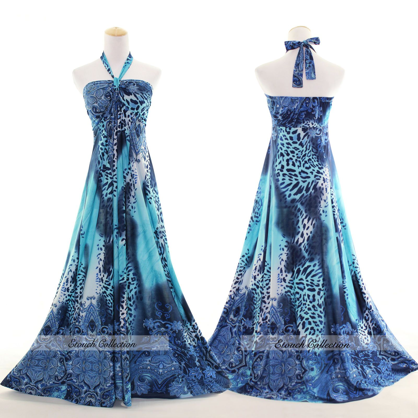 New Sexy Blue Leopard Evening Summer Prom Women Plus Size Party ...