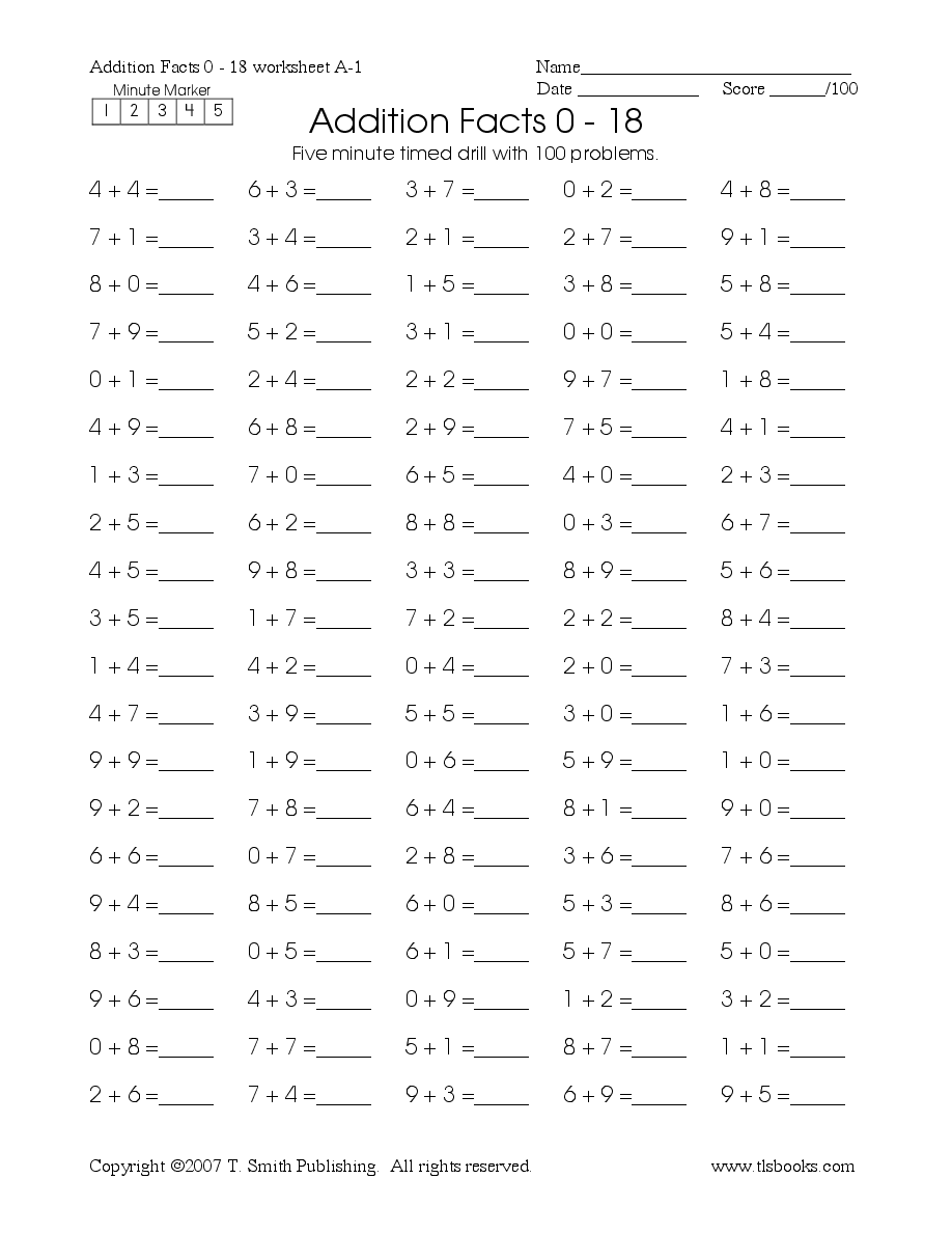 Timed Math Drill Sheets: Five Minute Addition 0-18   Timed math drills [ 1188 x 918 Pixel ]