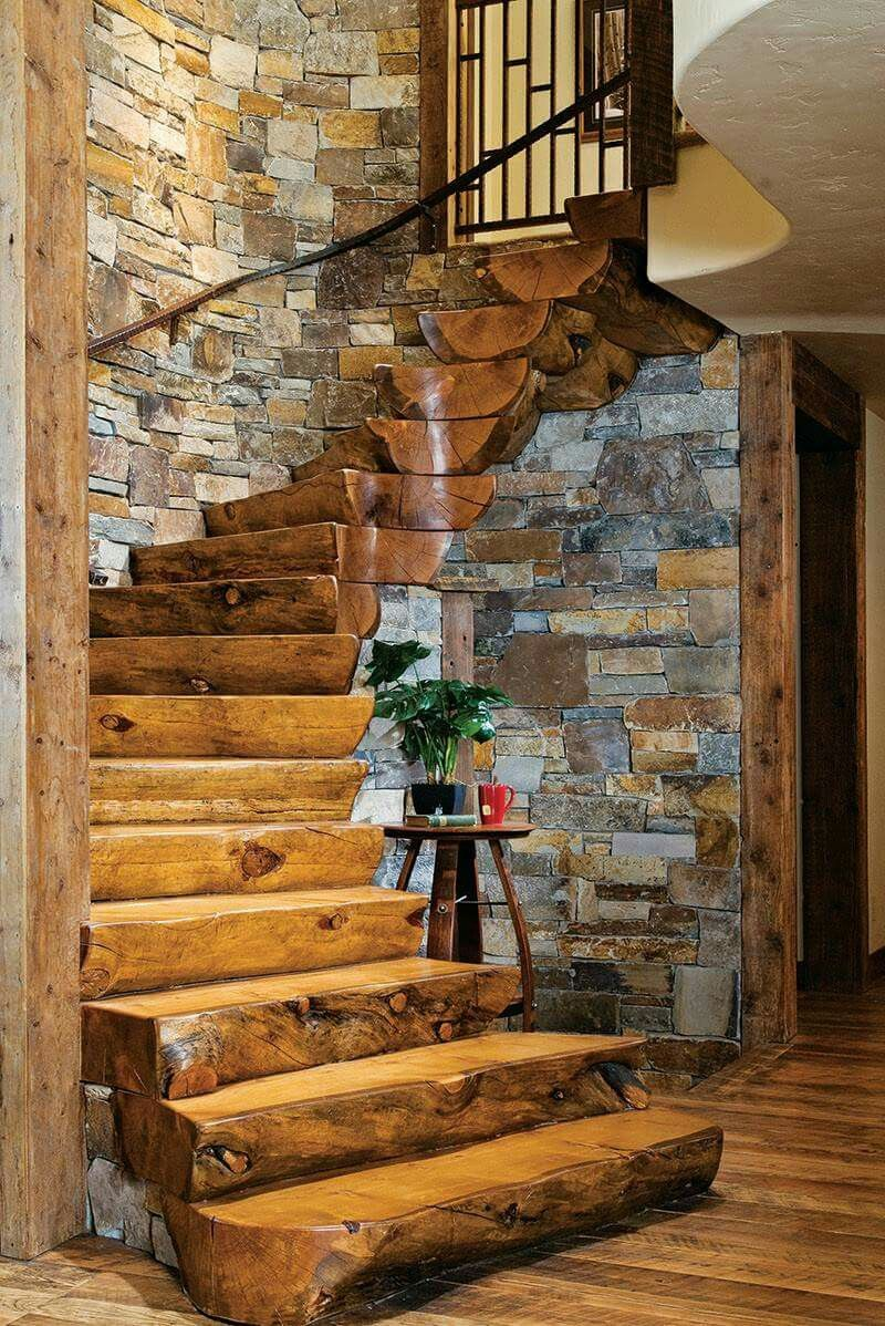 Ordinaire Rustic Log Cabin Homes Interiors Stairs