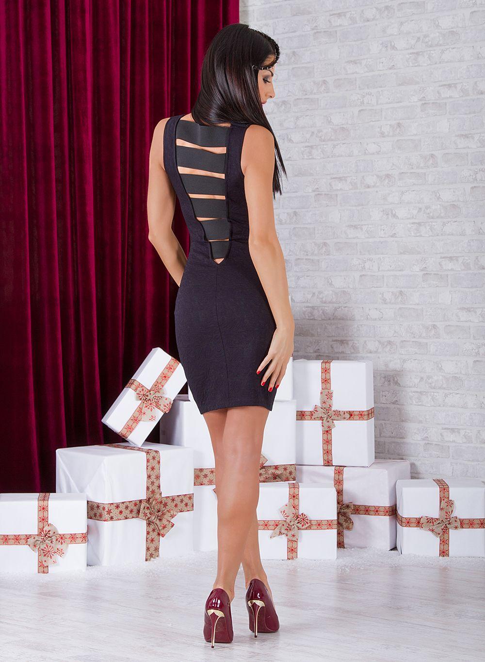Dark blue dress short dress off sleeve dress sexy dress elegant
