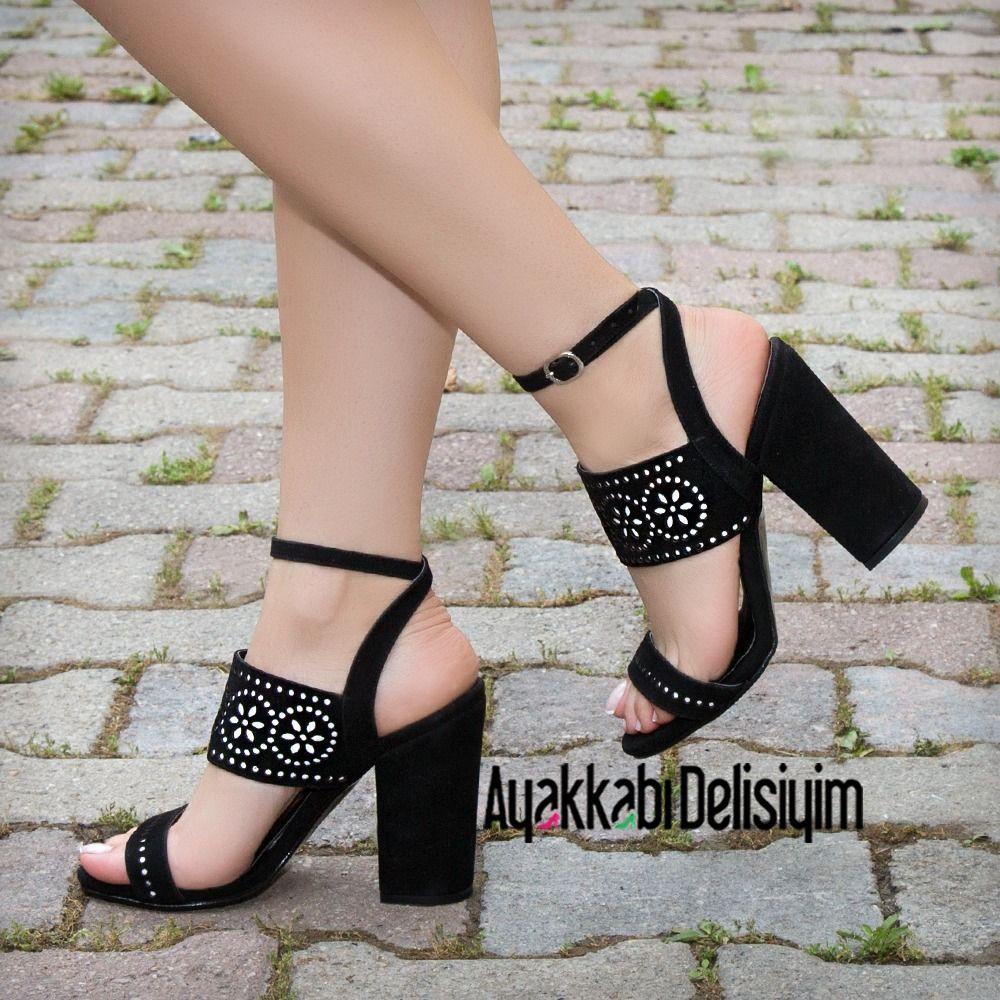 Kalin Topuklu Ayakkabi Cicek Desenli Olarak Tasarlandi Black Shoes Topuklular Topuklu Sandalet Platform Topuklu Ayakkabi