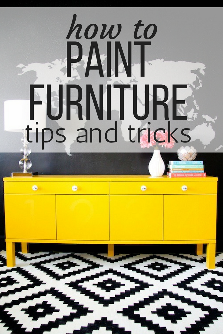 Yellowpainted sideboard with a map mural how to paint furniture