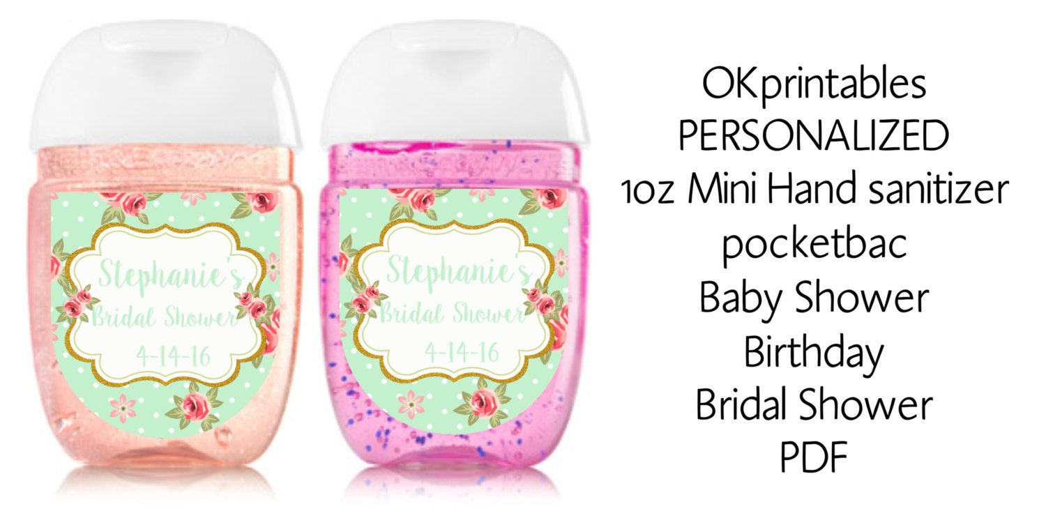 Mint And Floral Mini Hand Sanitizer Labels Shabby Chic Hand Hand