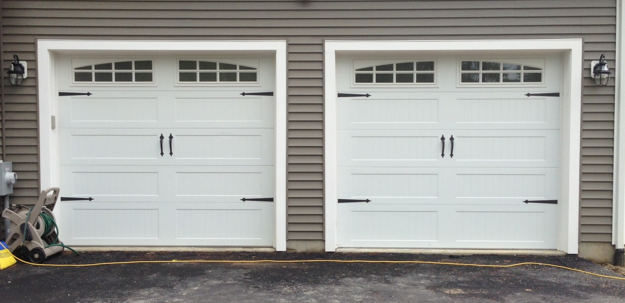 @C.H.I. Overhead Doors Model 5916 Long Panel Steel Carriage House Style Garage  Doors In White