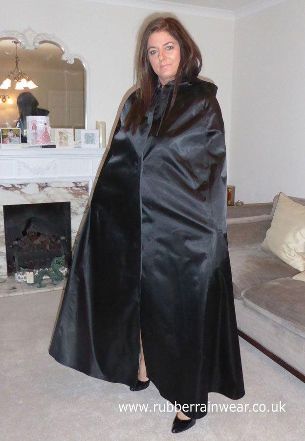 Beautiful Hayley Draped In Her Slinky Satin Cape Gorgeous  Satin Cape In 2019  Regenmantel -8862