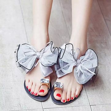 Photo of Big Size Butterflyknot Lace Bead Crystal Clip Toe Flat Flip Flops Sandals