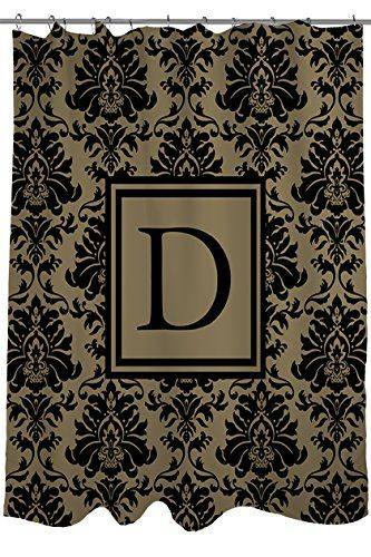 Thumbprintz Shower Curtain Monogrammed Letter D Black And Gold Damask You Can Get Additional Detail Monogrammed Fleece Blue Pillows Decorative Fleece Throw