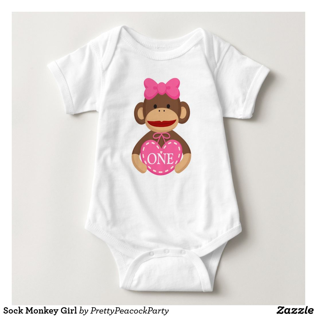 Sock Monkey Girl Baby Bodysuit | Zazzle.com #sockmoneky