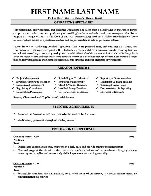 Operations Specialist Resume Template Premium Resume Samples Example Resume Resume Template Resume Examples