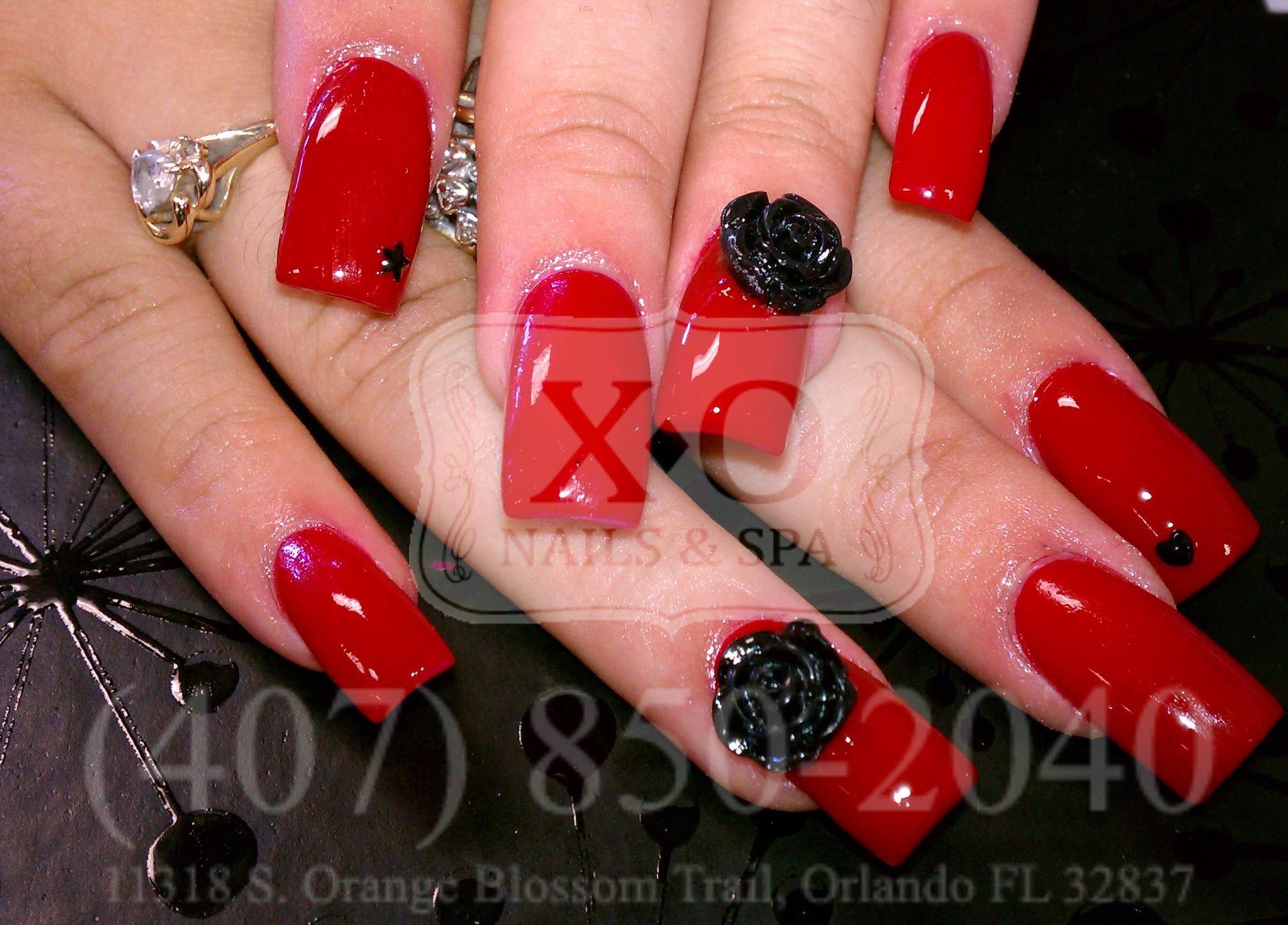 3d Black Rose Heart Nail Design Httpsfacebook