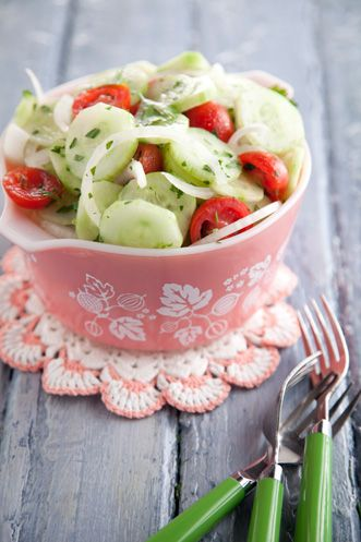 vegan: pd aunt peggy's cucumber, tomato and onion salad...