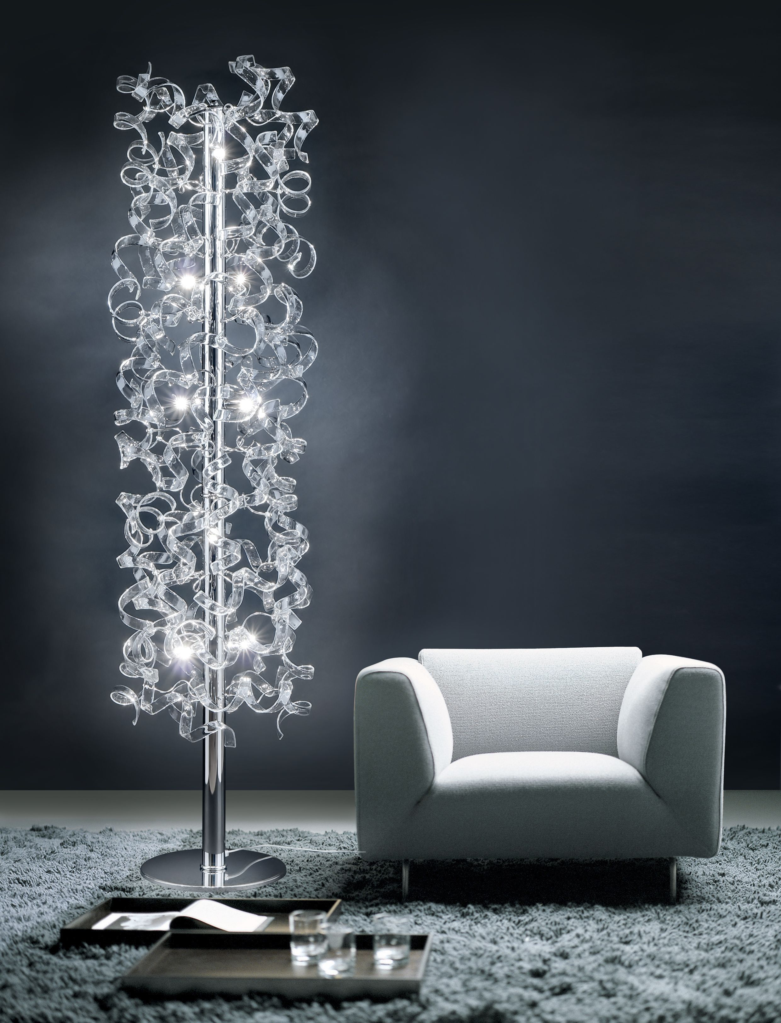 Metal lux astro floor lamp with chrome frame and crystal glass stand up floor lamp design ideas arubaitofo Gallery