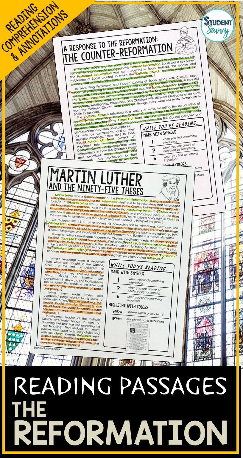 Reformation Martin Luther Reading Passages Questions Annotations Reading Passages Reformation Reading Comprehension Questions [ 1536 x 816 Pixel ]