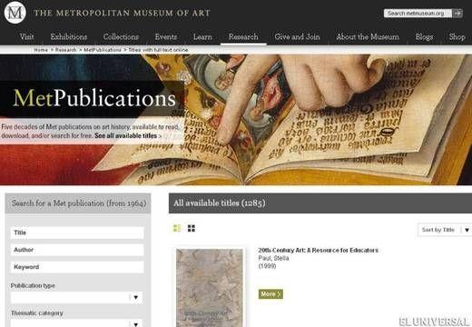 Museo Metropolitano de Nueva York ofrece libros de arte por internet - Cultura