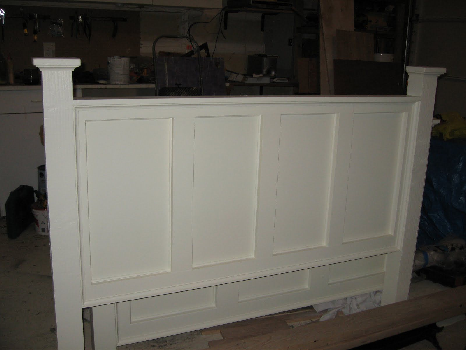 Repurposed Front Door Queen Headboard Made From Kitchen Cabinet