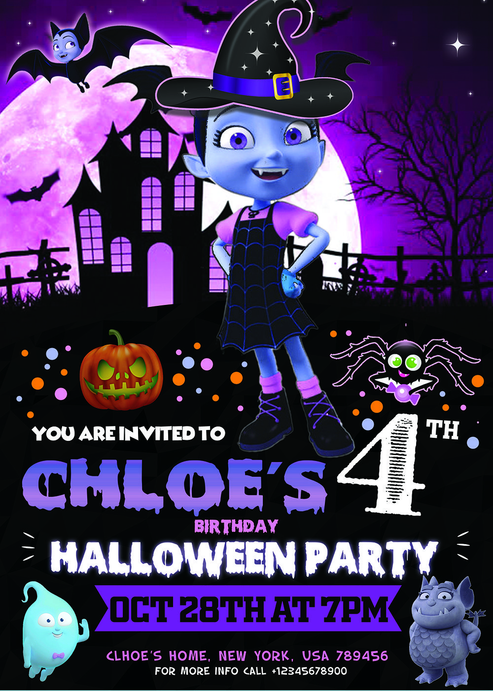 Vampirina Halloween Party 2020 Ny VAMPIRINA HALLOWEEN BIRTHDAY INVITATION | Halloween birthday