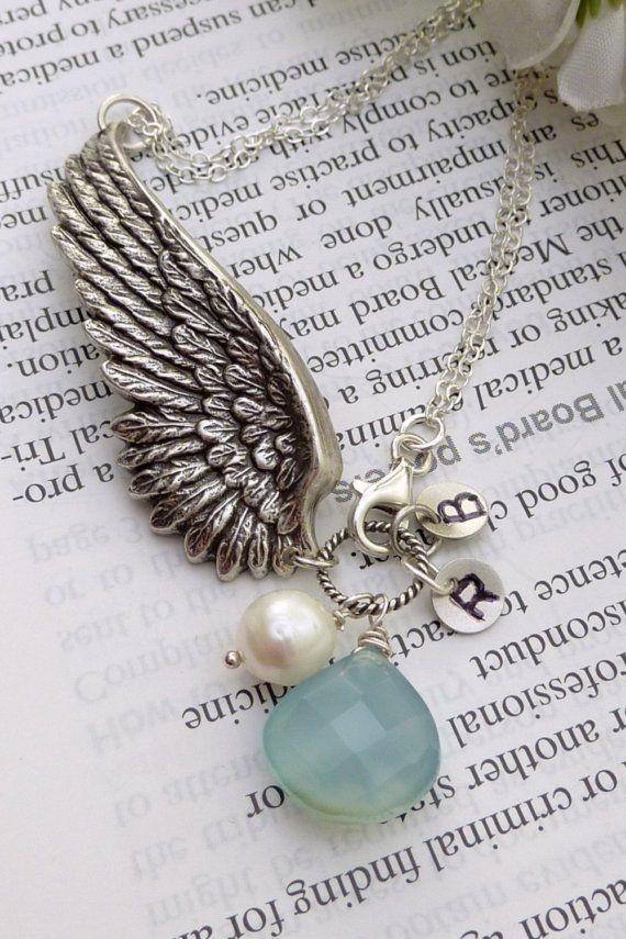 Custom GUARDIAN ANGELS Angel Wing Aqua Blue by JCGemsJewelry