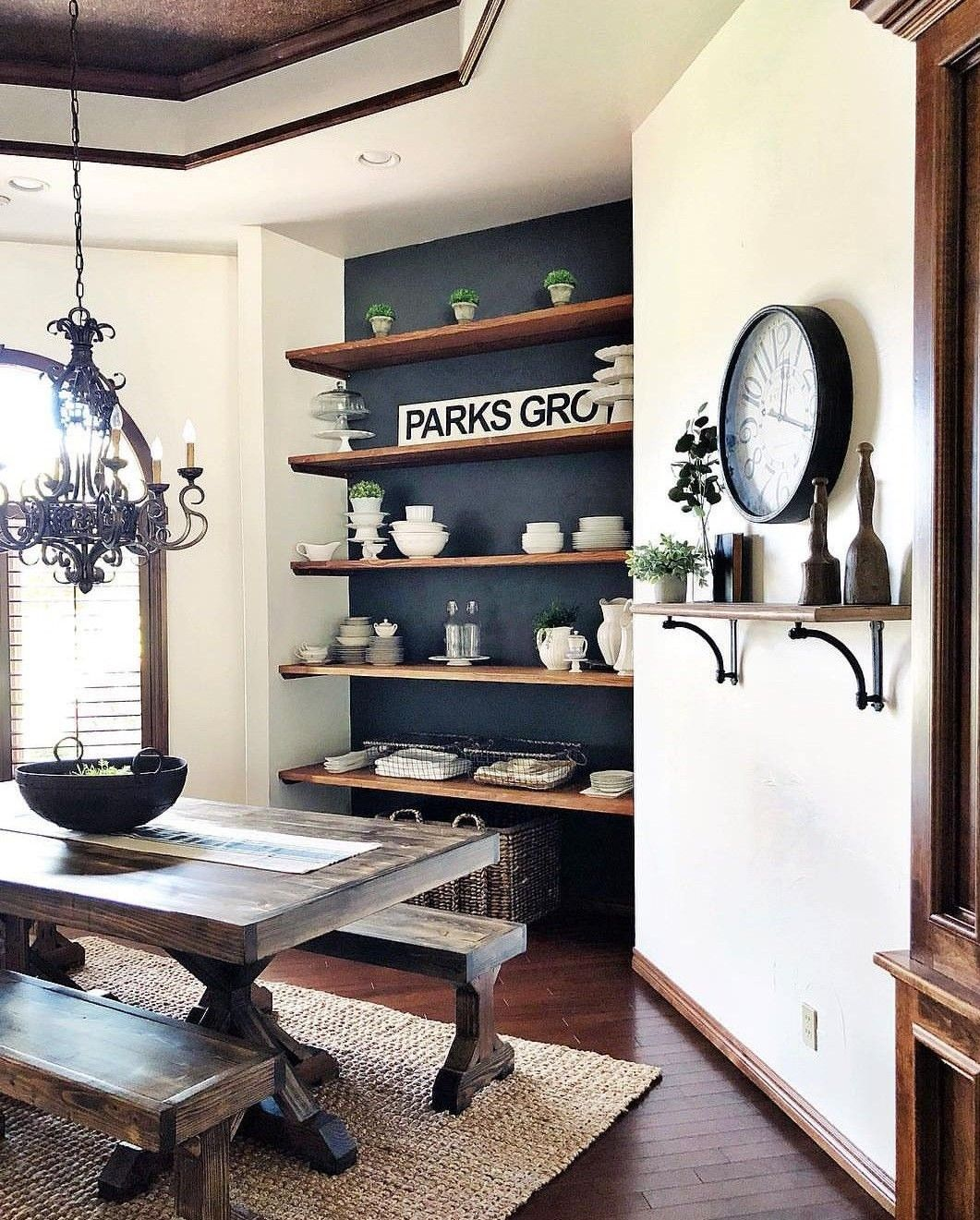 Dining Room Nook With Floating Shelves Accent Walls In Living Room Dining Room Nook Floating Shelves Living Room