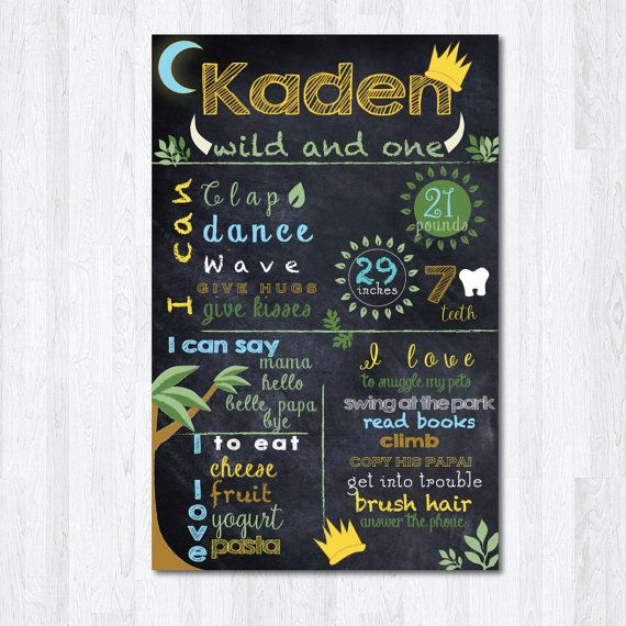 Where the wild things are birthday chalkboard sign by PinkAppleInk