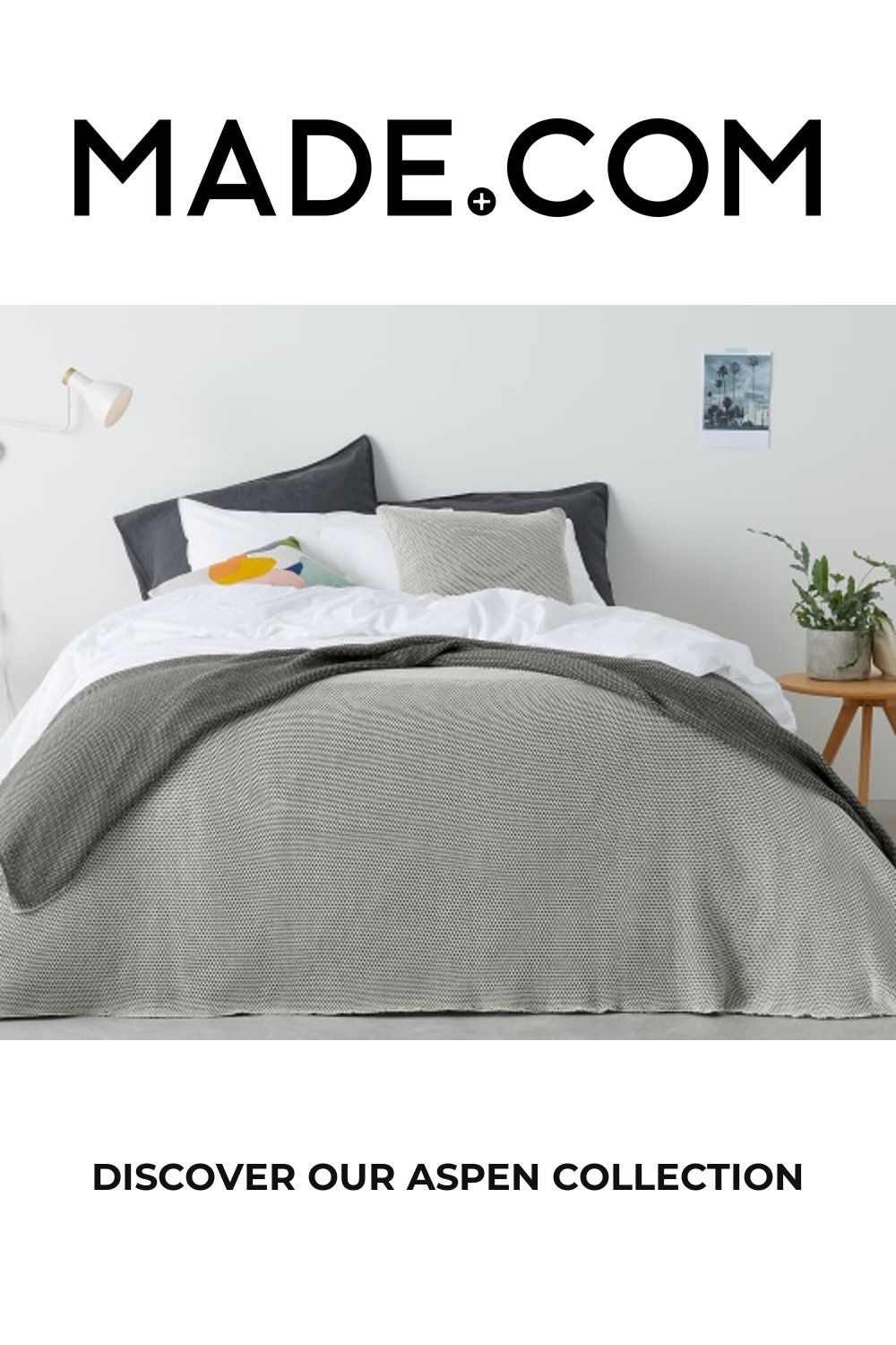 Aspen 100% Cotton Knitted Bed Throw, 150x200cm, Grey/Off White
