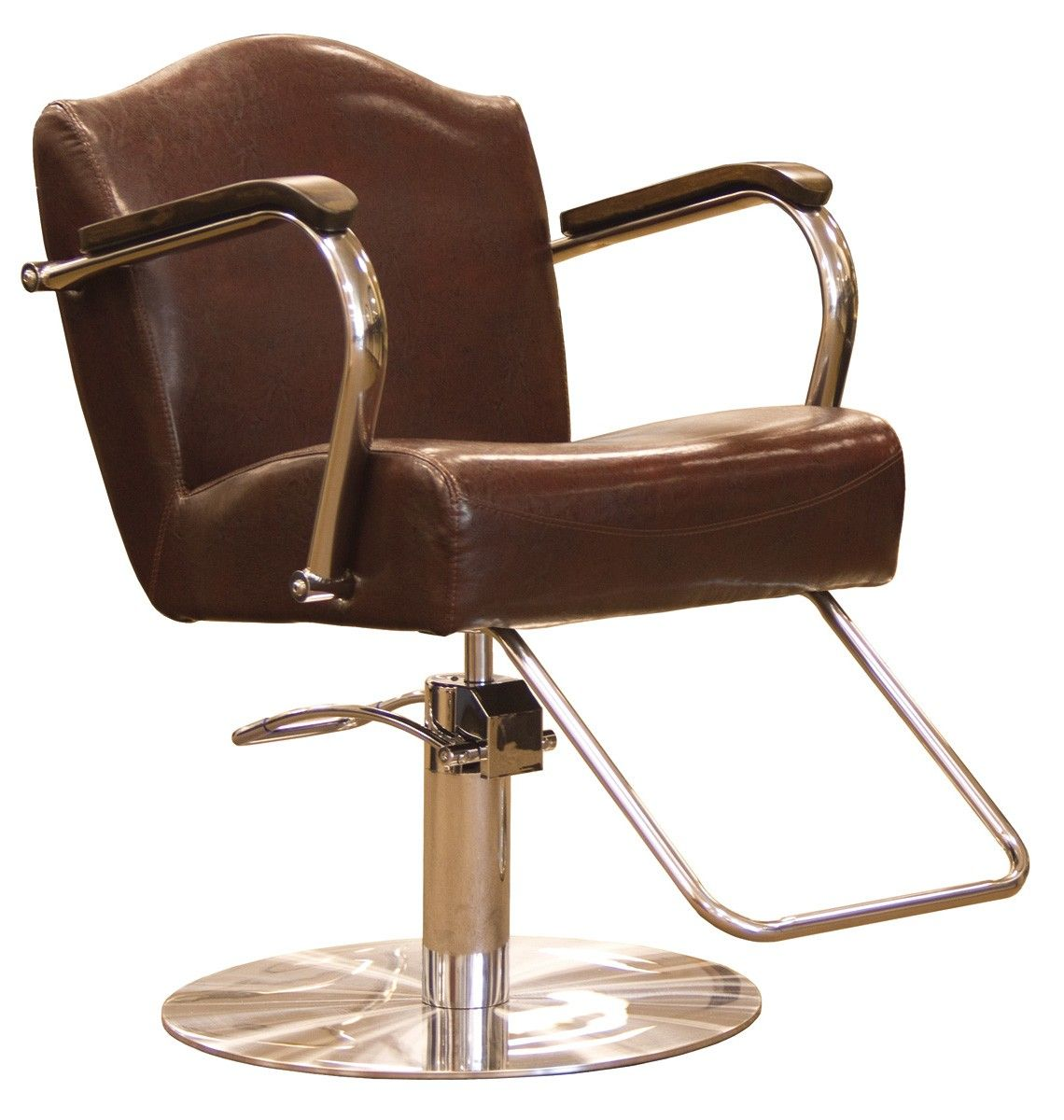 The Regal Styling Chair In Antique Brown Features A Low Profile Round Stainless Steel Base With U Shaped Footrest Wood Capped Chair Style Chair Unique Chair