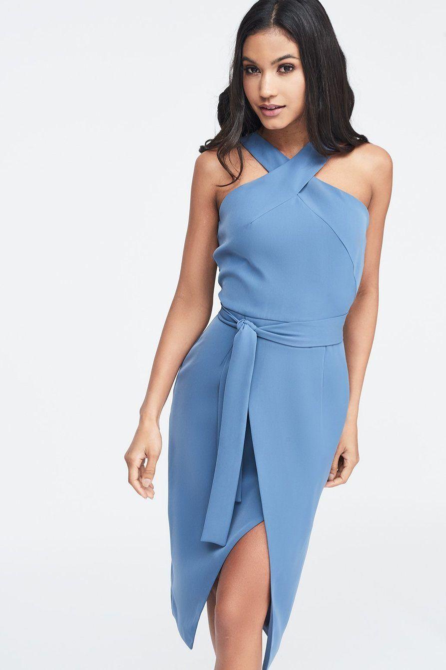 Halter Neck Wrap Front Midi Dress In Dusty Blue Wrap Around Dress Wrap Dress Pattern Stylish Wrap Dress [ 1340 x 893 Pixel ]