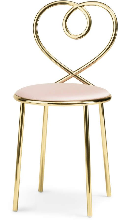 Love Chair  Powder Rose by Ghidini 1961   Moda Operandi is part of Love chair - Shop Love Chair  Powder Rose  Designed with a heartshaped backrest, this charming chair is comprised of brass and a padded seat cushion