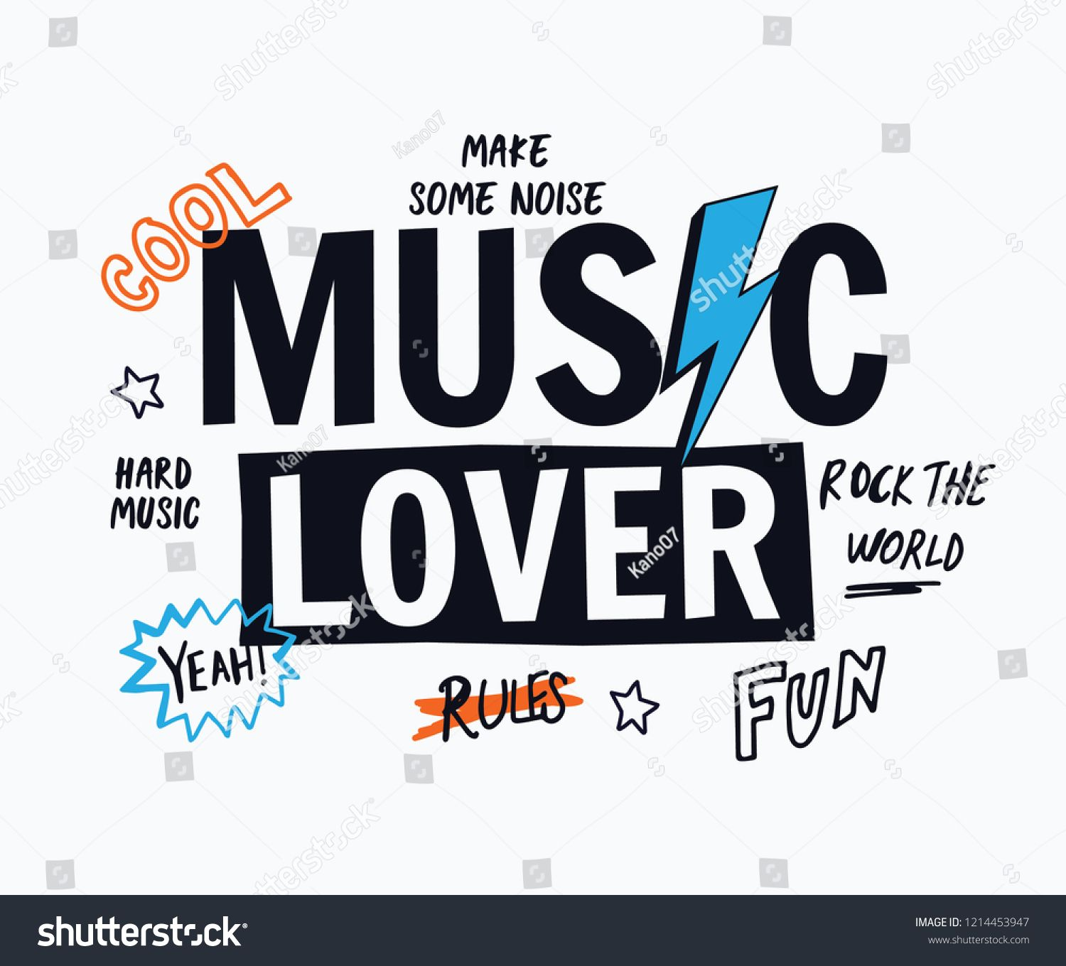 c3270d78 Music lover vector slogan graphic, for t-shirt prints and other uses. vector #lover#Music#slogan
