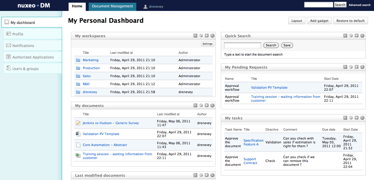 Document control dashboard google search ux ui ideas for It documentation software open source