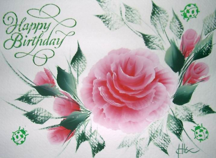 Birthday Cards Paintings ~ Happy birthday flowers roses the card is and blank